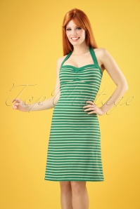 King Louie 60s Lucy Breton Stripe Dress in Peapod Green
