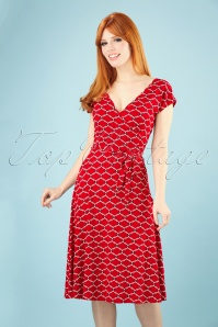 King Louie 70s Mira Scope Dress in Chili Red