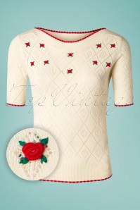 50s Audrey Flower Ajour Top in Cream