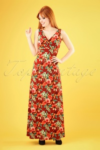 Ginger Magnolia Maxi Dress Années 70 en Rouge Sienna