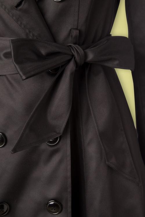 40s Korrina Swing Trench Coat in Black