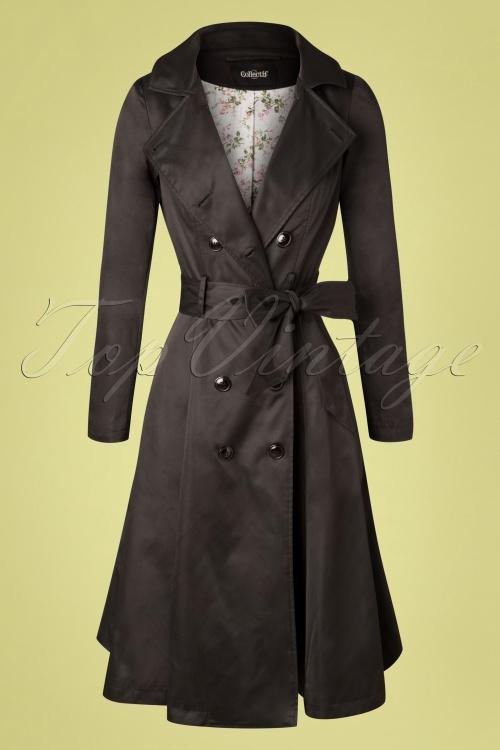 Collectif Clothing 27439 Korrina Swing Trench Coat Black 20181217 006W