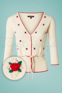 50s Flower Ajour V Cardigan in Cream