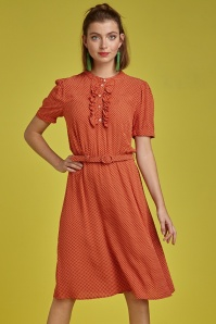 Gaya Mini-Me Dress Années 60 en Rouge Orange