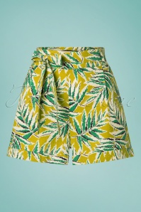 50s Roisin Scala Shorts in Cress Yellow
