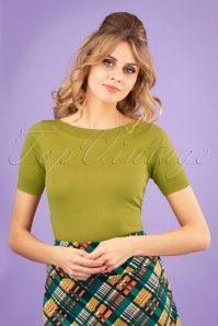 60s Audrey Cottonclub Top in Cress Yellow