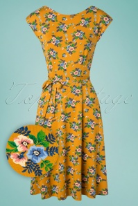 70s Grace Goldrush Dress in Sunset Yellow