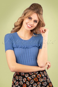 60s Jewel Ruffle Ajour Top in River Blue