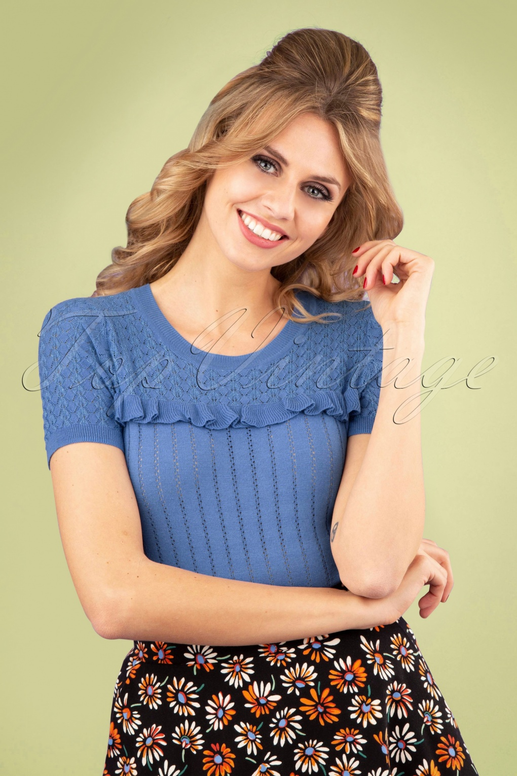 Welp 60s Jewel Ruffle Ajour Top in River Blue XD-72