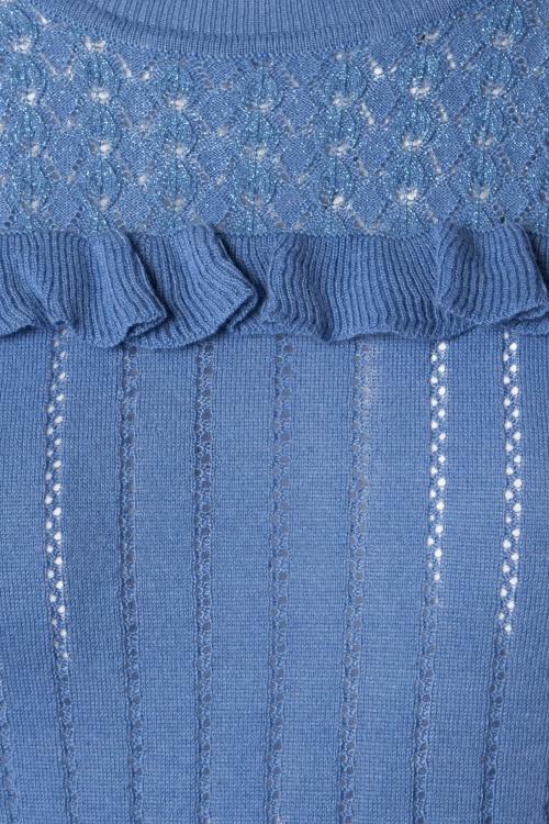 Fonkelnieuw 60s Jewel Ruffle Ajour Top in River Blue ME-12