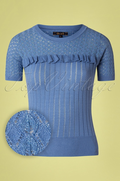Welp 60s Jewel Ruffle Ajour Top in River Blue BB-45