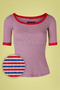 60s Carice Barber Stripes Top in Red