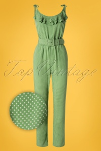 70s Viola Mini-Me Ruffle Jumpsuit in Jungle Green