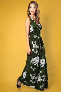 Vixen 70s Eden Floral Flared Jumpsuit in Moss Green