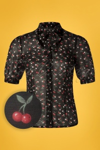 40s Bella Cherry Blouse in Black
