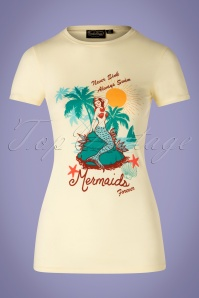 50s Mermaid T-Shirt in Pastel Yellow