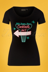 24 Hours Cocktails T-Shirt Années 50 en Noir