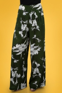 70s Stephanie Floral Palazzo Trousers in Moss Green