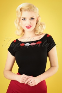 50s Leah Umbrella Top in Black