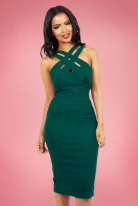 Vixen 28317 50s Lillian Green Pencil Dress 28317 2