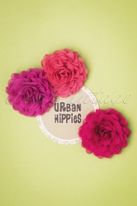 Urban Hippies 70s Hair Flowers Set in Pink
