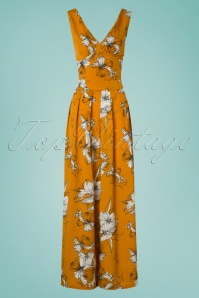 70s Eden Floral Flared Jumpsuit in Mustard