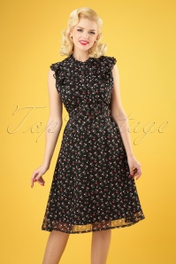 50s Cheryl Cherry Tea Dress in Black