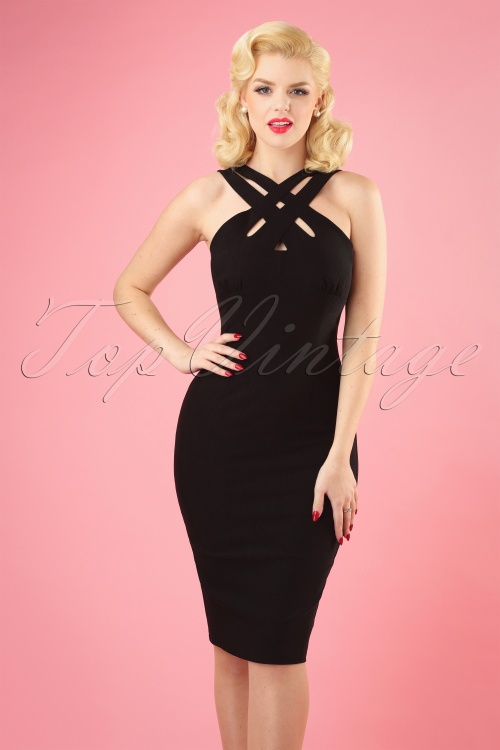 Vixen 28316 50s Lillian Black Pencil Dress 20190301 1W