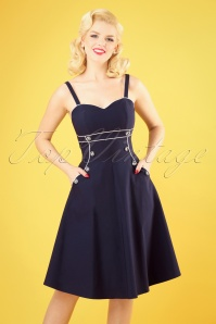 50s Claudia Nautical Swing Dress in Navy