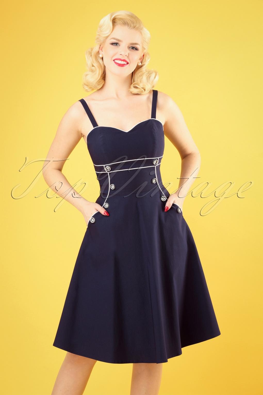 Sailor Dresses, Nautical Theme Dress, WW2 Dresses 50s Claudia Nautical Swing Dress in Navy �54.71 AT vintagedancer.com