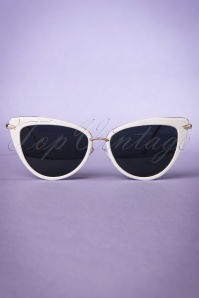 Collectif White and Gold Dita Cats Eye Sunglasses 260 50 20353 20170414 0009w