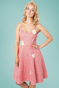 Vixen 28305 50s Dolly Gingham Daisy Dress 2
