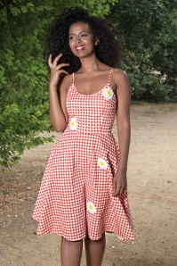50s Dolly Gingham Flared Dress in Red