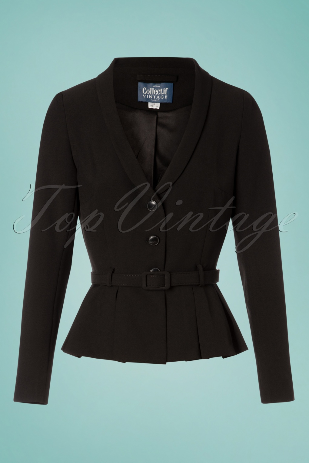 1950s Jackets, Coats, Bolero | Swing, Pin Up, Rockabilly 40s Alana Suit Jacket in Black £69.54 AT vintagedancer.com
