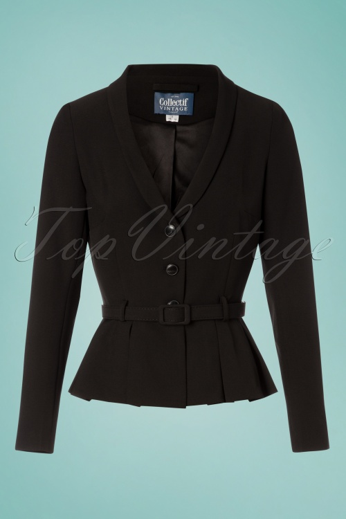 Collectif Clothing 27457 Alana Plain Suit Jacket in Black 20180816 001W
