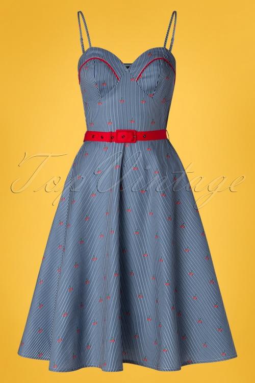 Vixen 28310 Shelley Cherry Navy Striped Swing Dress 20190301 006W