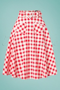 50s Violetta Hearts Gingham Swing Skirt in Red