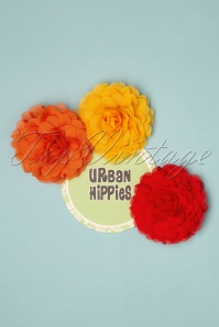 Urban Hippies 70s Hair Flowers Set in Honey Yellow