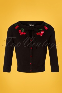 Collectif Clothing 27380 Charlene Cherries Cardigan in Black 20180813 001W