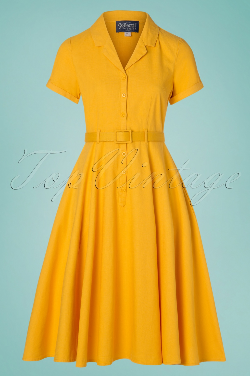 1960s Style Dresses, Clothing, Shoes UK 50s Caterina Swing Dress in Mustard Yellow £70.40 AT vintagedancer.com