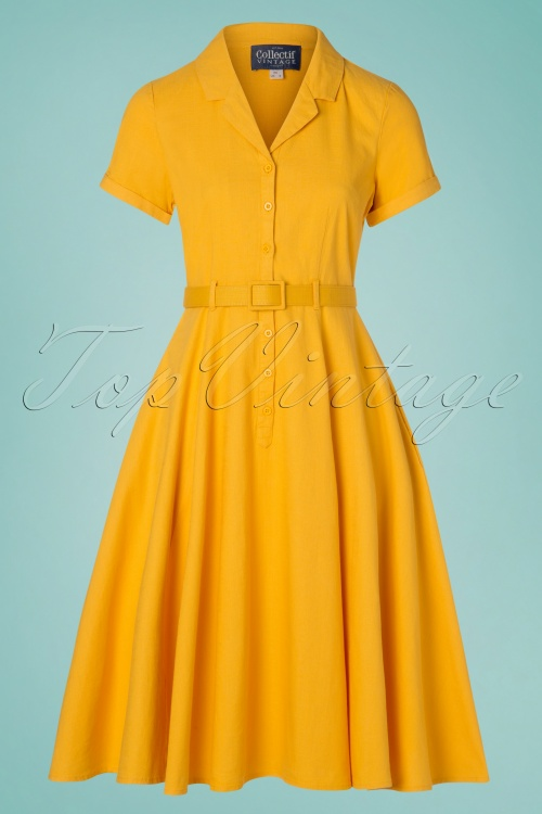 Collectif Clothing 29978 Caterina Vintage Mustard Yellow Cotton Swing 20190305 006W