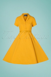 Collectif Clothing 29978 Caterina Vintage Mustard Yellow Cotton Swing 20190305 002W