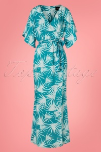 70s Kelly Palm Maxi Dress in Teal Blue