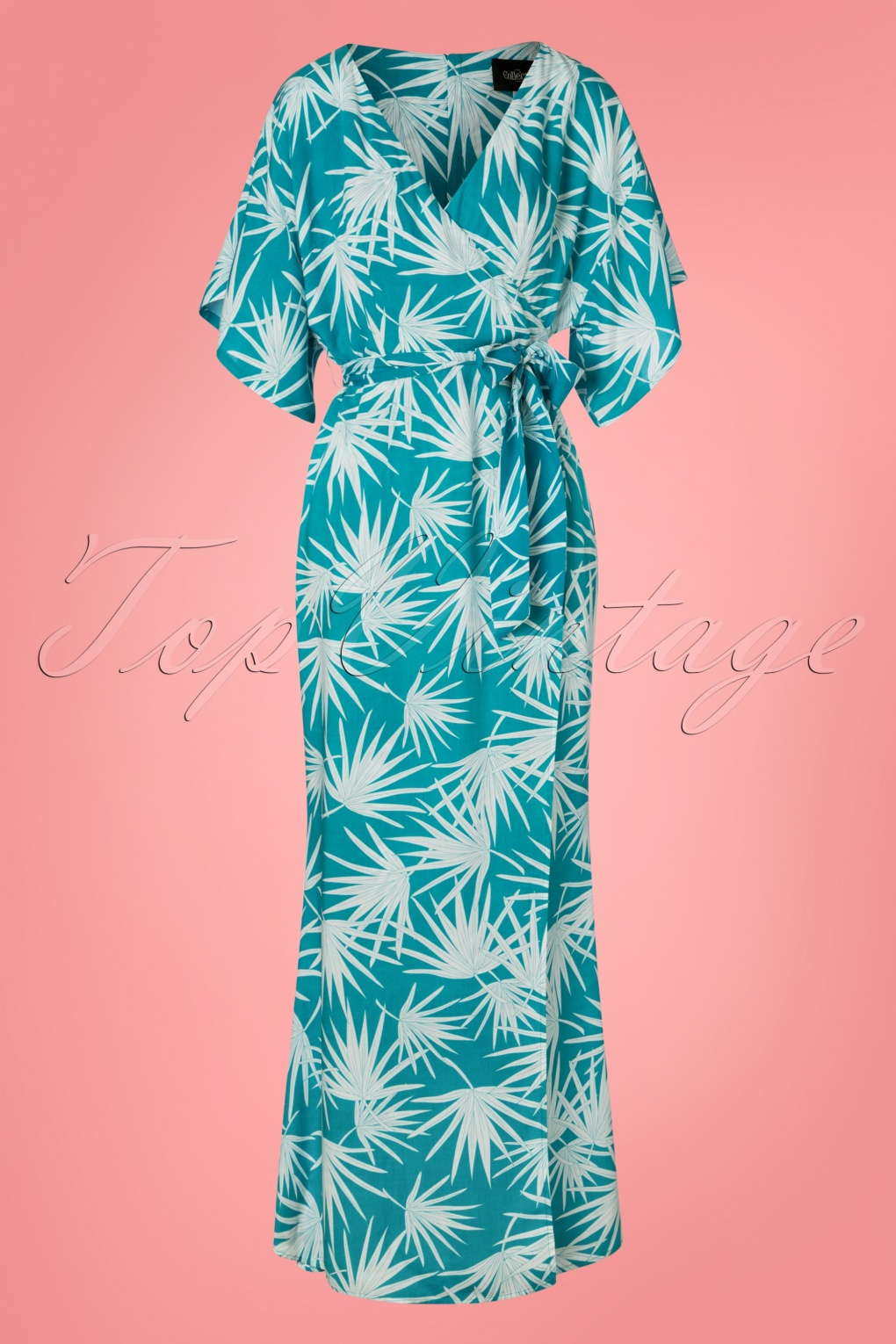 Maxi Jurk Turquoise.70s Kelly Palm Maxi Dress In Teal Blue