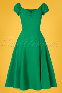 50s Dolores Doll Swing Dress in Emerald Green