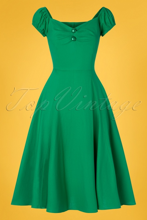 Collectif Clothing 28607 Dolores Green Plain Doll Swing Dress 20190305 010W