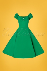 Collectif Clothing 28607 Dolores Green Plain Doll Swing Dress 20190305 004W