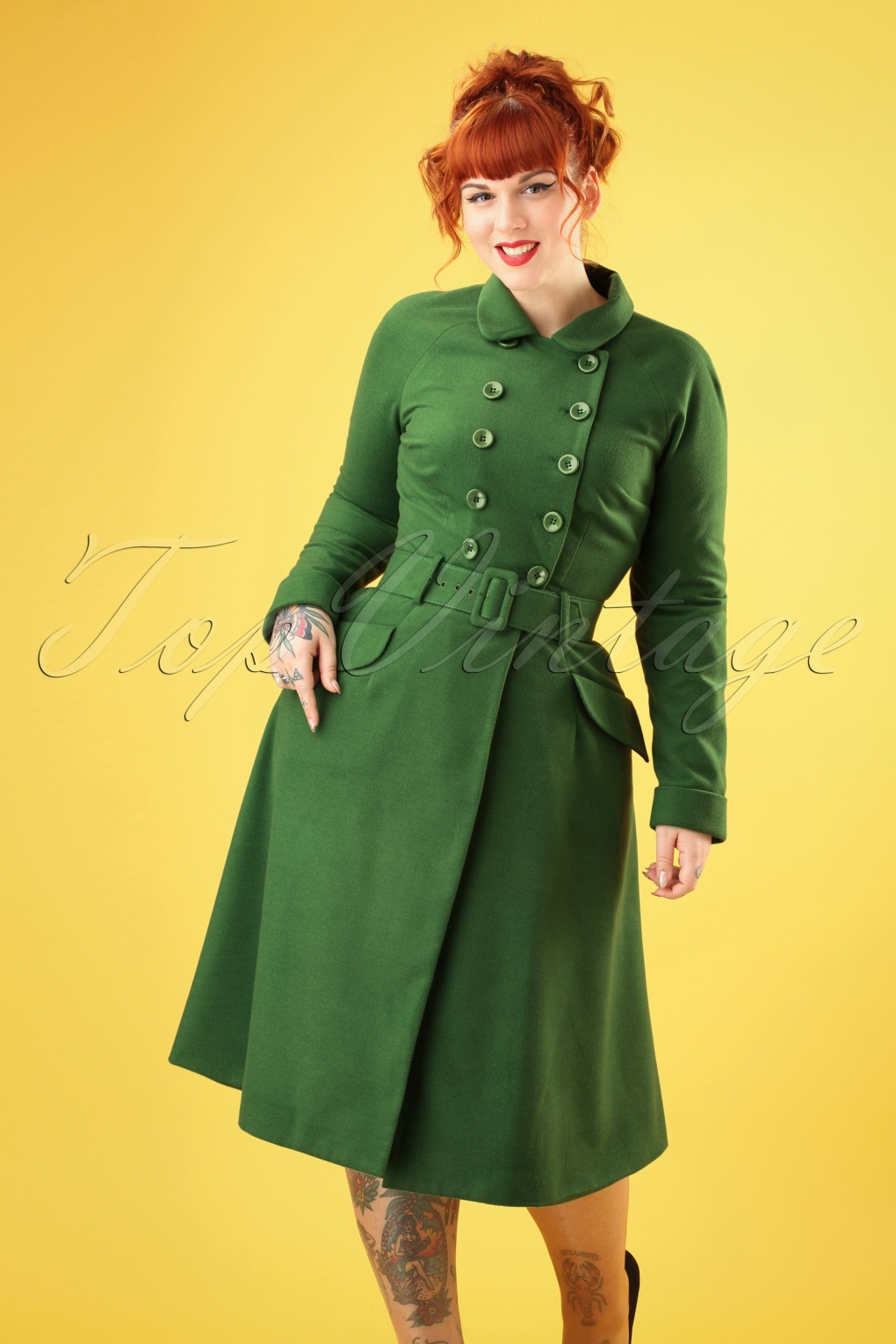 Vintage Coats & Jackets | Retro Coats and Jackets 50s Addy Coat in Green £95.54 AT vintagedancer.com