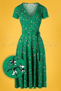 Vintage Chic 28760 Swing Dress in Green 20190305 001W1
