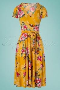 Vintage Chic 28775 Mustard Floral Dress 20190305 010W